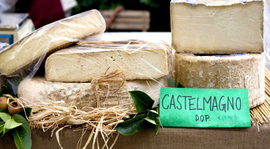 The Castelmagno DOP cheese on display at the market in Alba - Piedmont