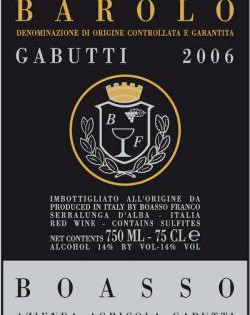 Barolo DOCG Gabutti Boasso 2006