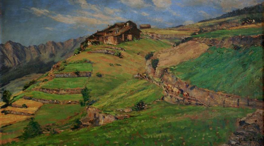 Terrazzamenti di montagna - olio su tavola - cm 48x68,