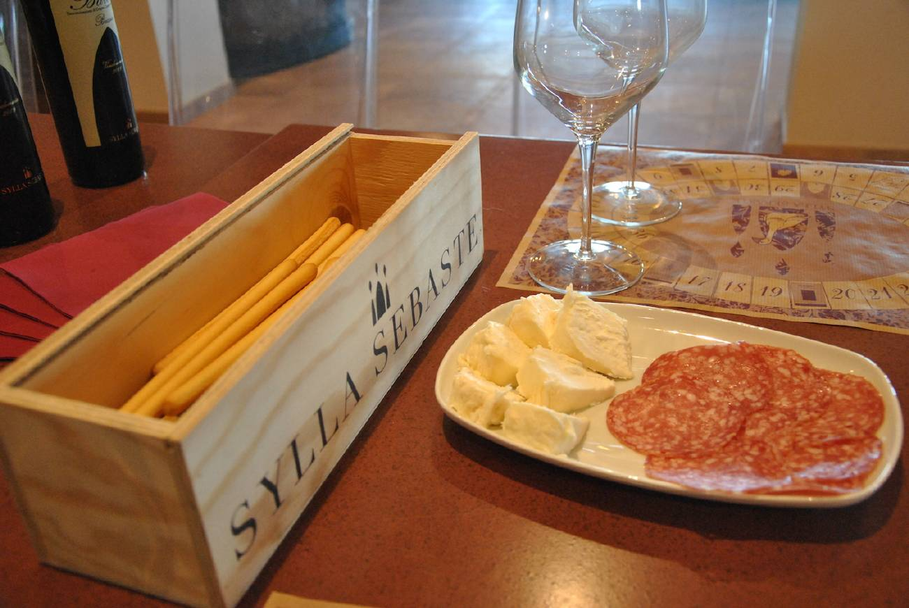Salami and cheese during the wine tasting