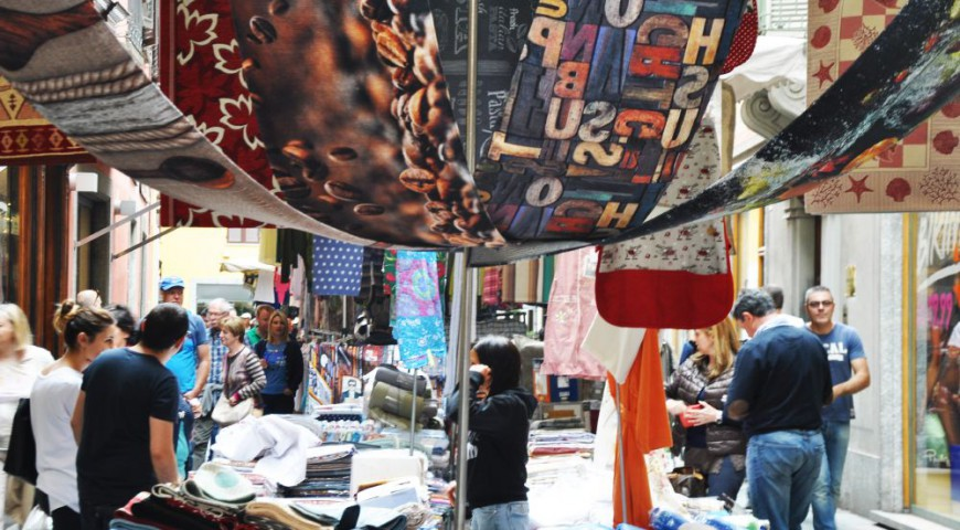 The textile stand in the town center