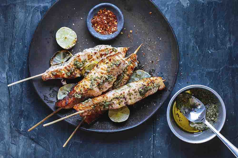 Fish skewers and salsa