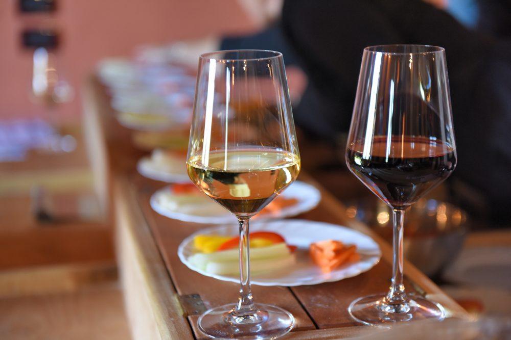 Calici di vino e degustazione di prodotti