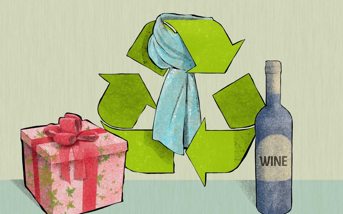 Illustration of gifts that can be recycled and reused
