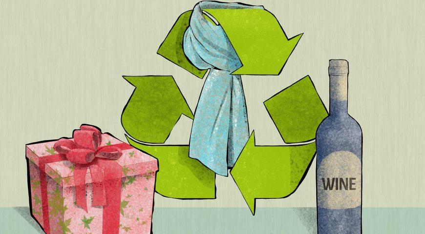 Illustrazione di regali da riciclare e riusare